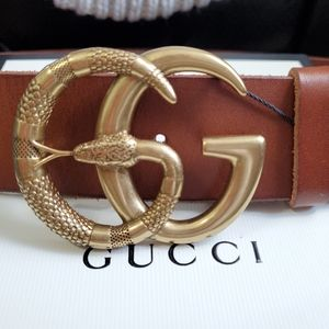 😘Authentic Gucci Belt Brown Leather Snake Buckle
